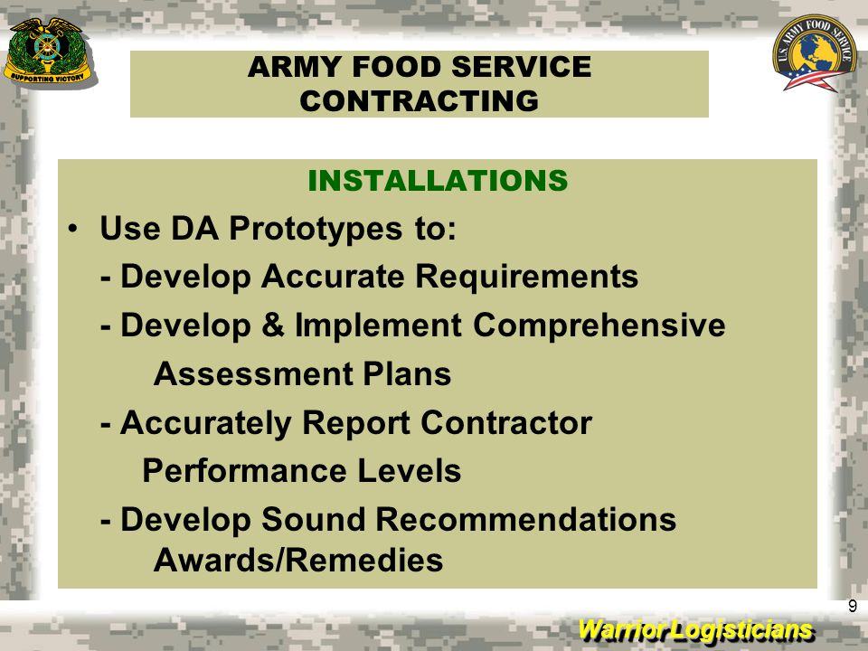 ARMY FOOD SERVICE CONTRACTING