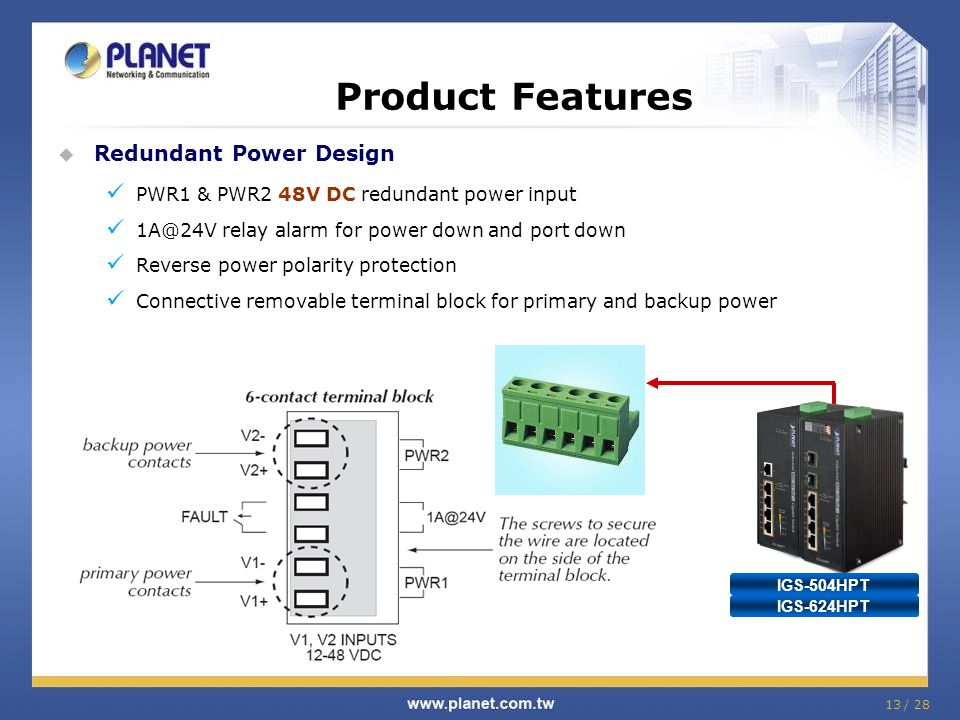 Product Features Redundant Power Design