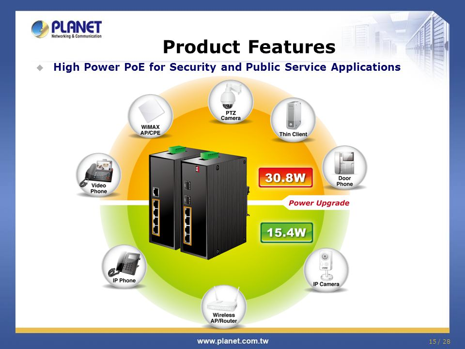 Product Features High Power PoE for Security and Public Service Applications 15