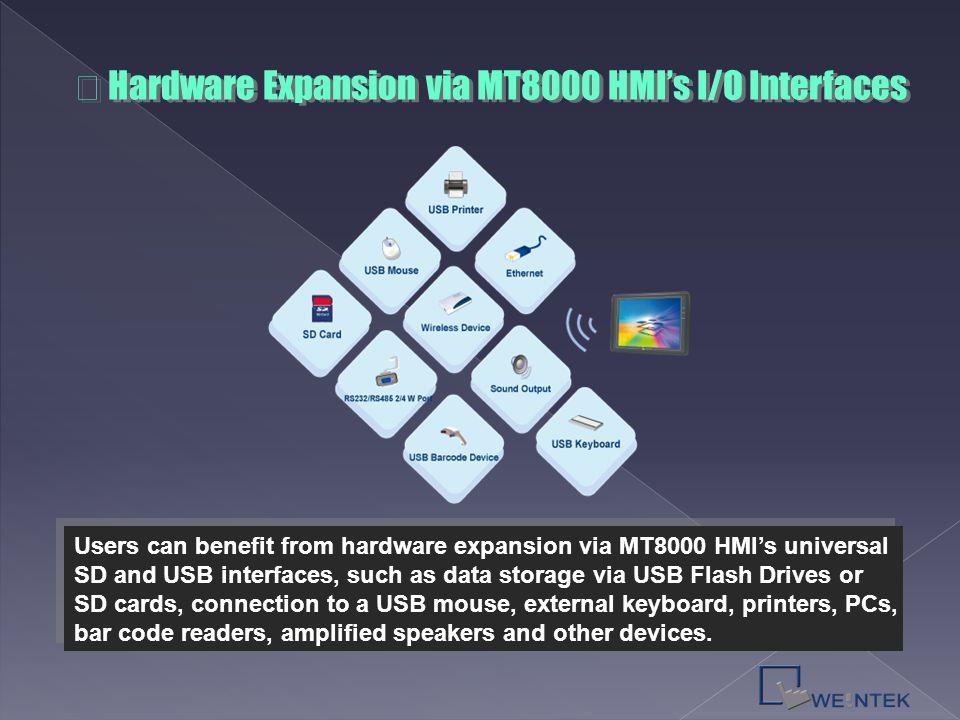 ※ Hardware Expansion via MT8000 HMI's I/O Interfaces