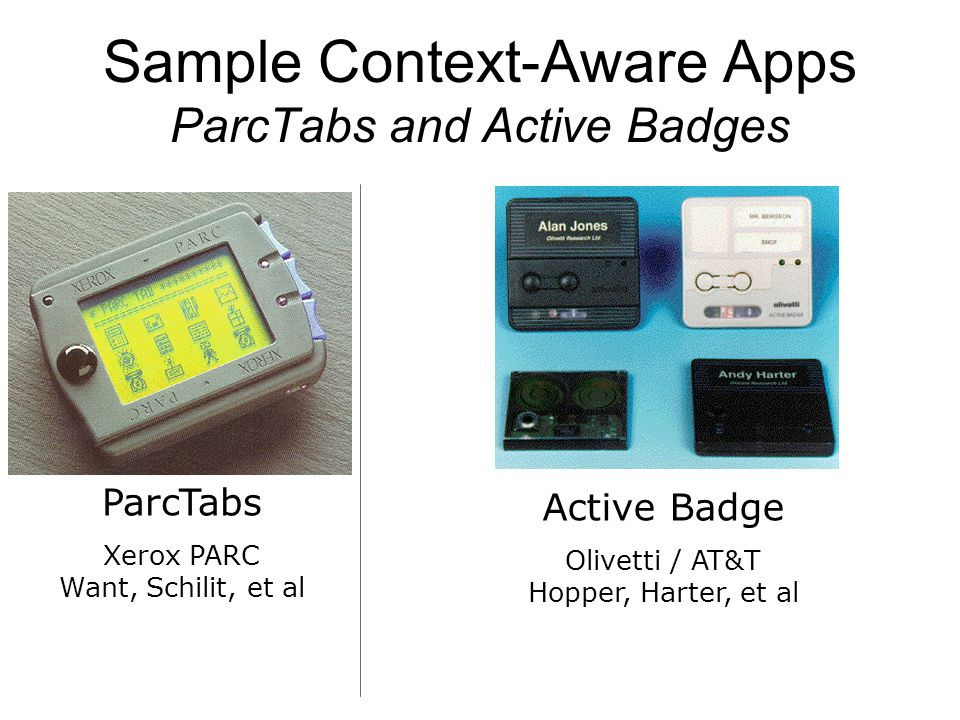 Sample Context-Aware Apps ParcTabs and Active Badges