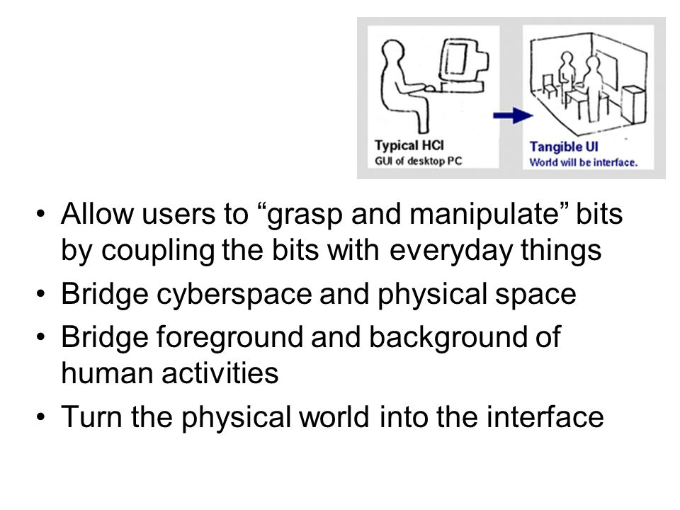 Allow users to grasp and manipulate bits by coupling the bits with everyday things