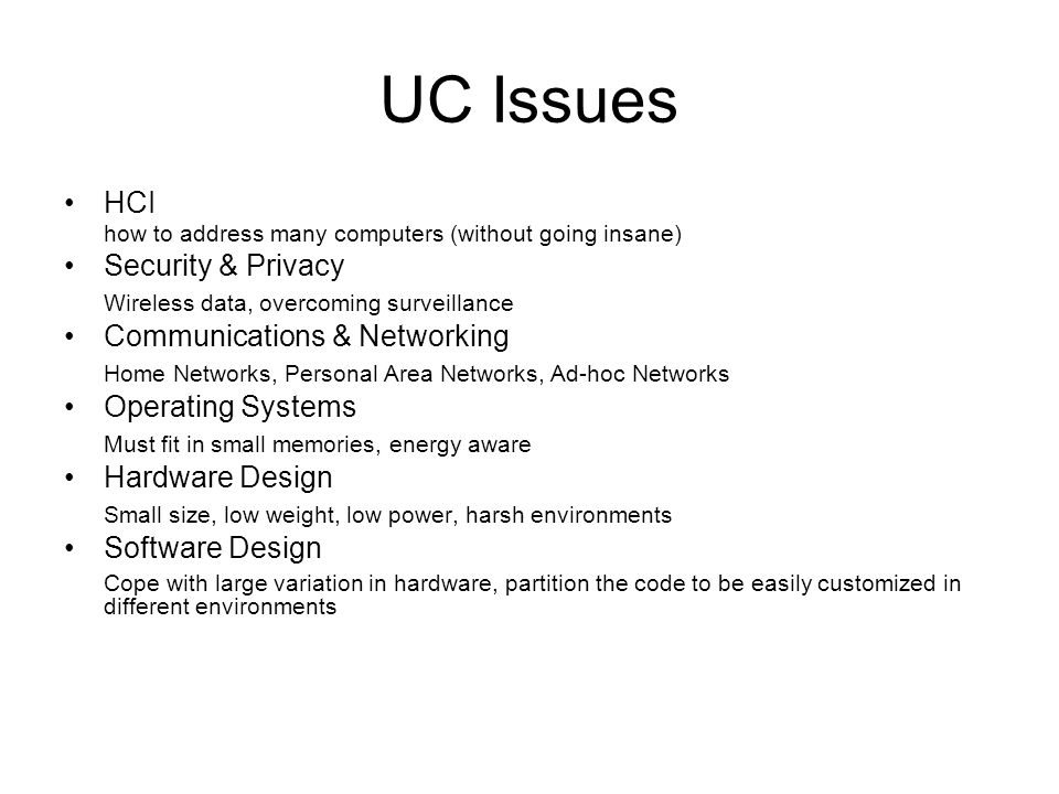 UC Issues HCI Security & Privacy