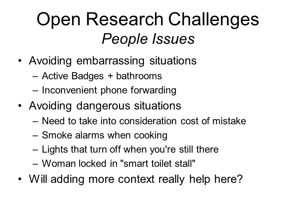 Open Research Challenges People Issues