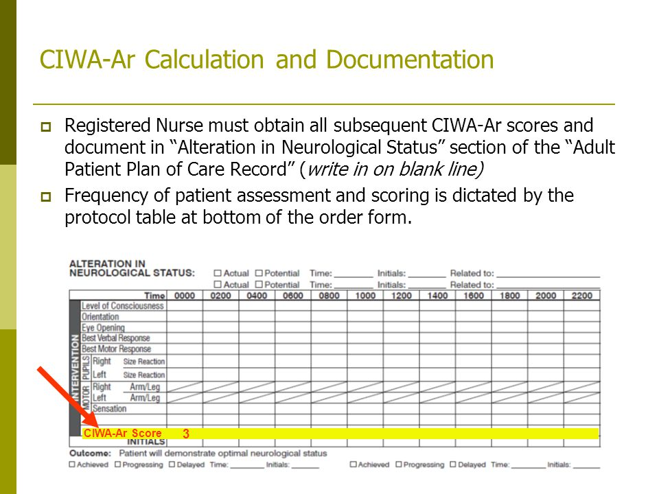 CIWA-Ar Calculation and Documentation