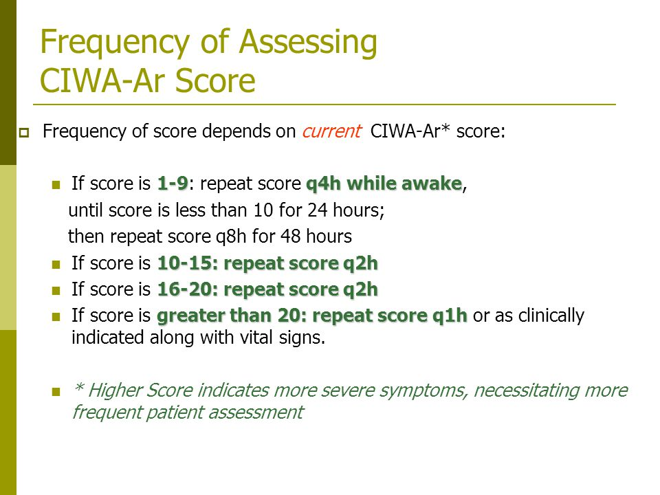 Frequency of Assessing CIWA-Ar Score