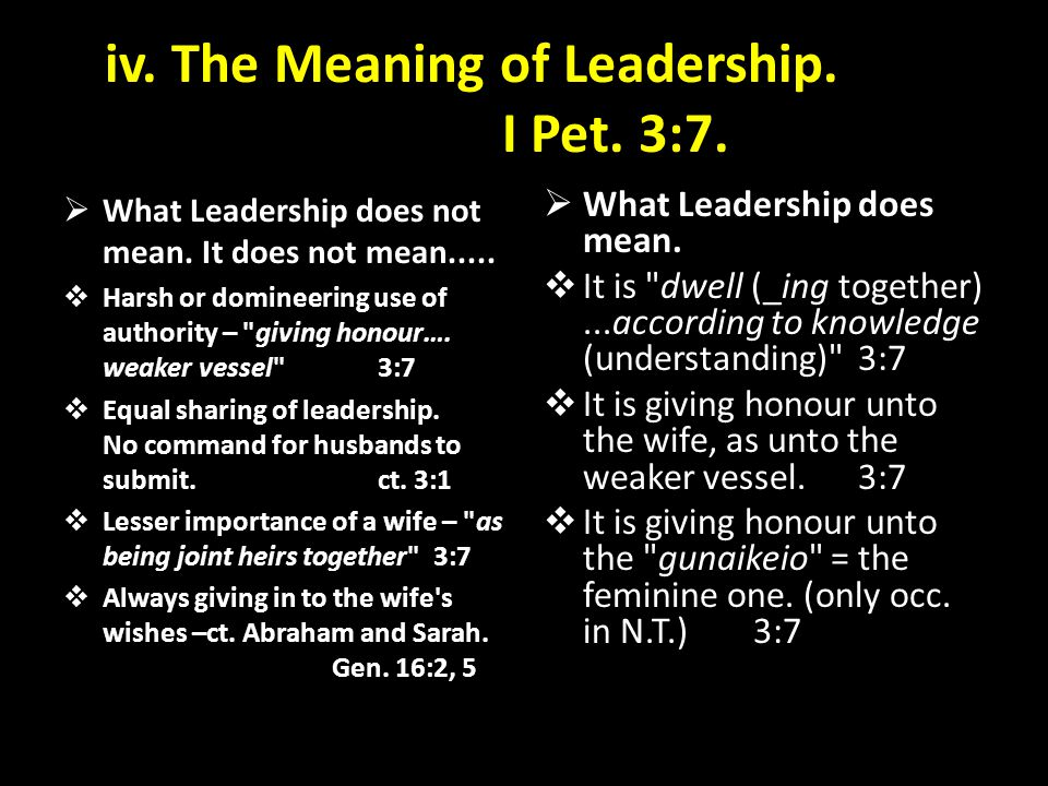 iv. The Meaning of Leadership. I Pet. 3:7.
