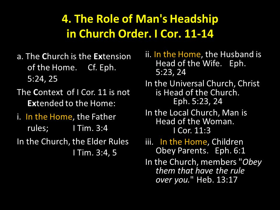 4. The Role of Man s Headship in Church Order. I Cor. 11-14