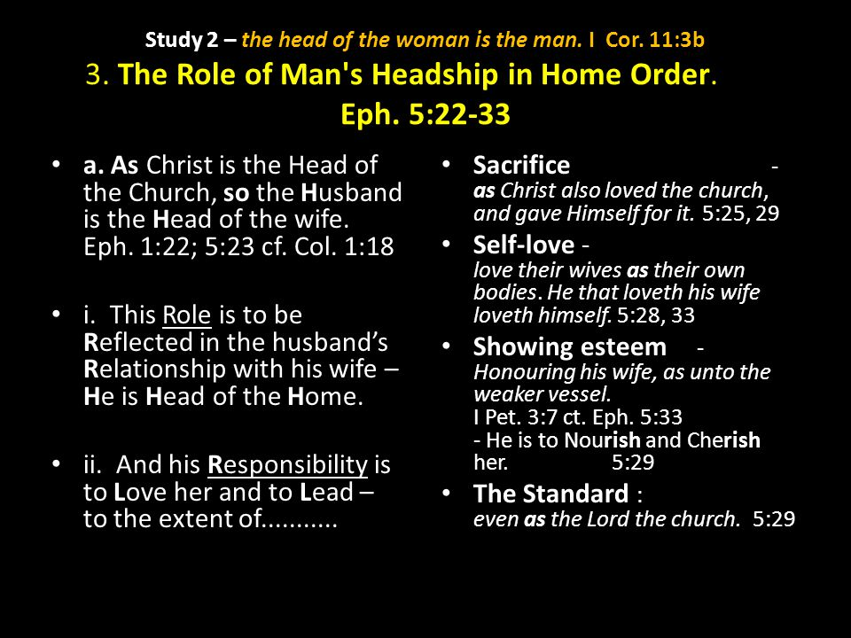 Study 2 – the head of the woman is the man. I Cor. 11:3b 3