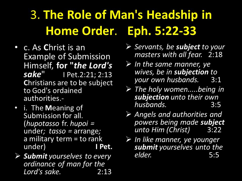 3. The Role of Man s Headship in Home Order. Eph. 5:22-33