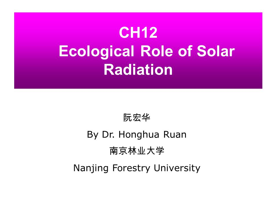 CH12 Ecological Role of Solar Radiation