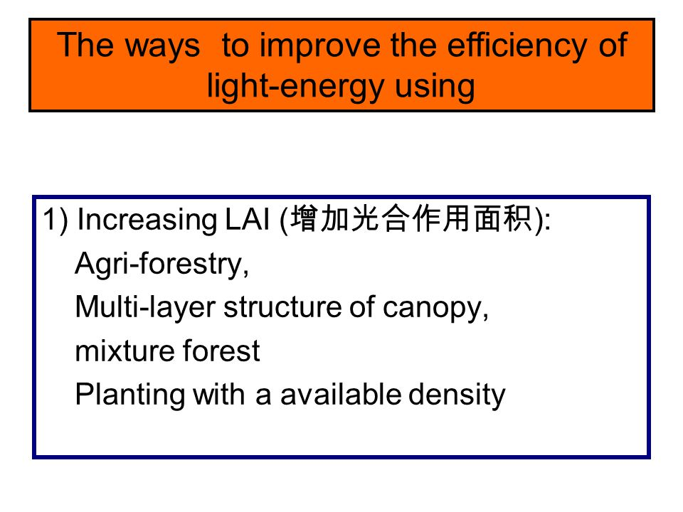 The ways to improve the efficiency of light-energy using
