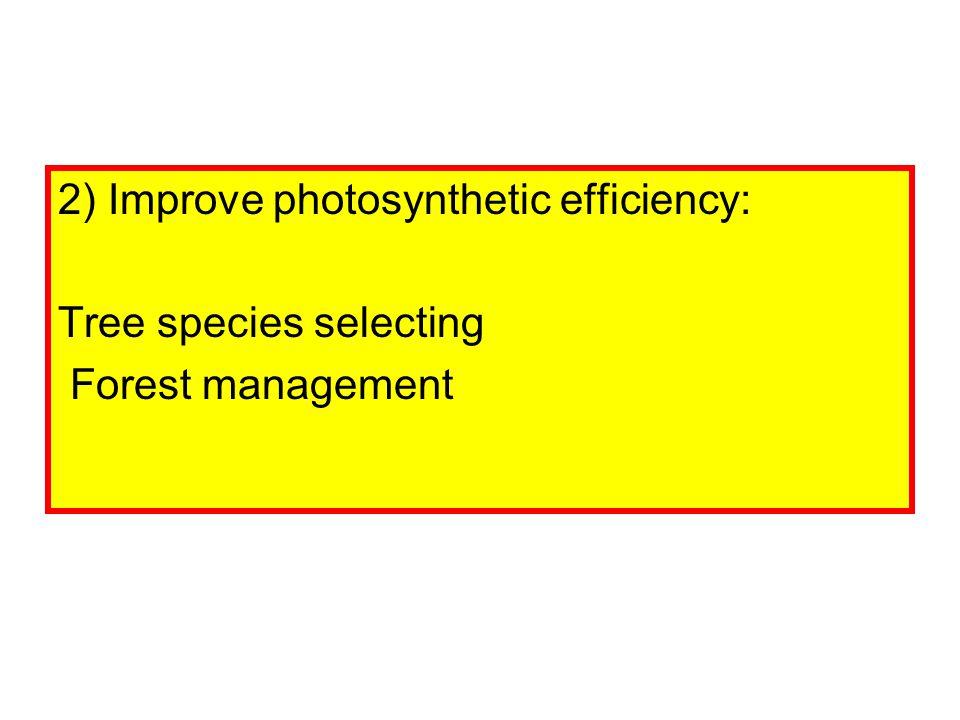 2) Improve photosynthetic efficiency: