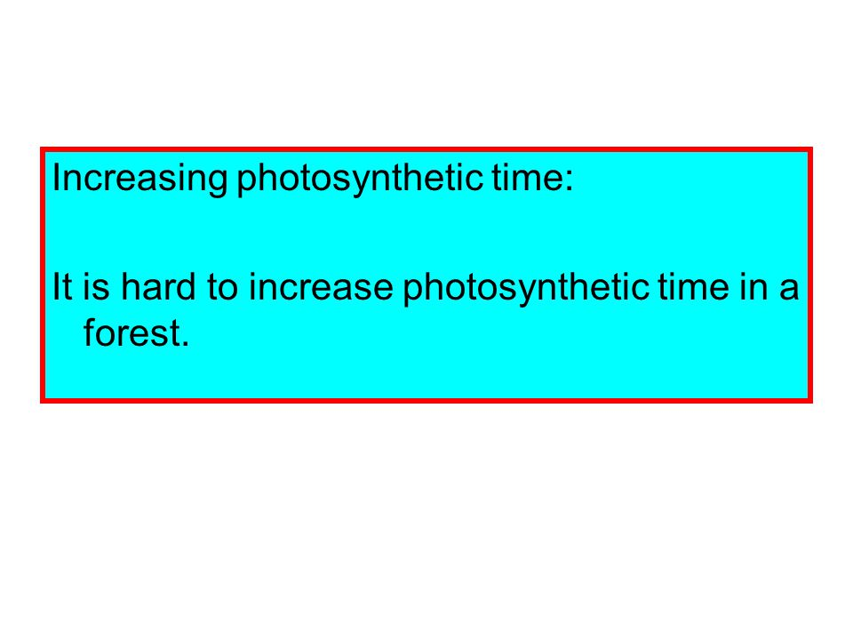 Increasing photosynthetic time: