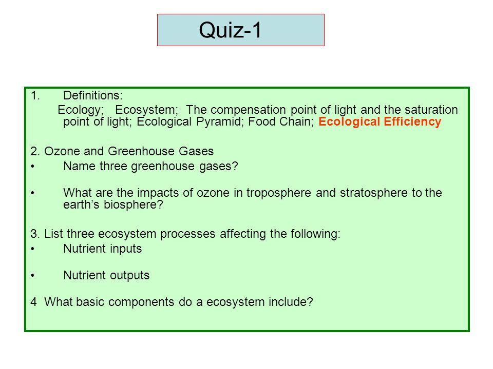Quiz-1 Definitions: