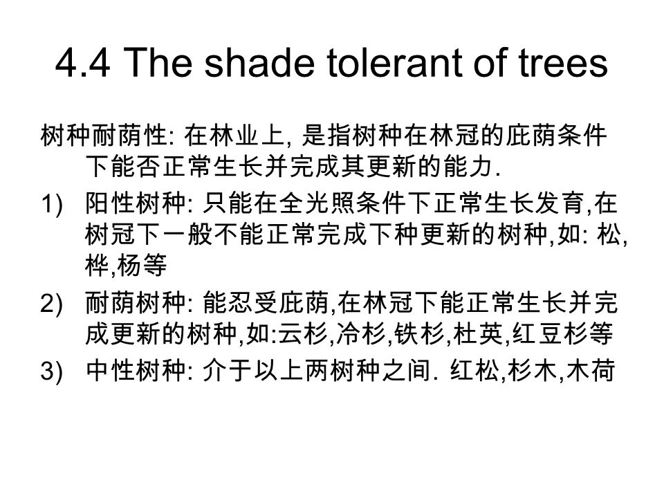 4.4 The shade tolerant of trees