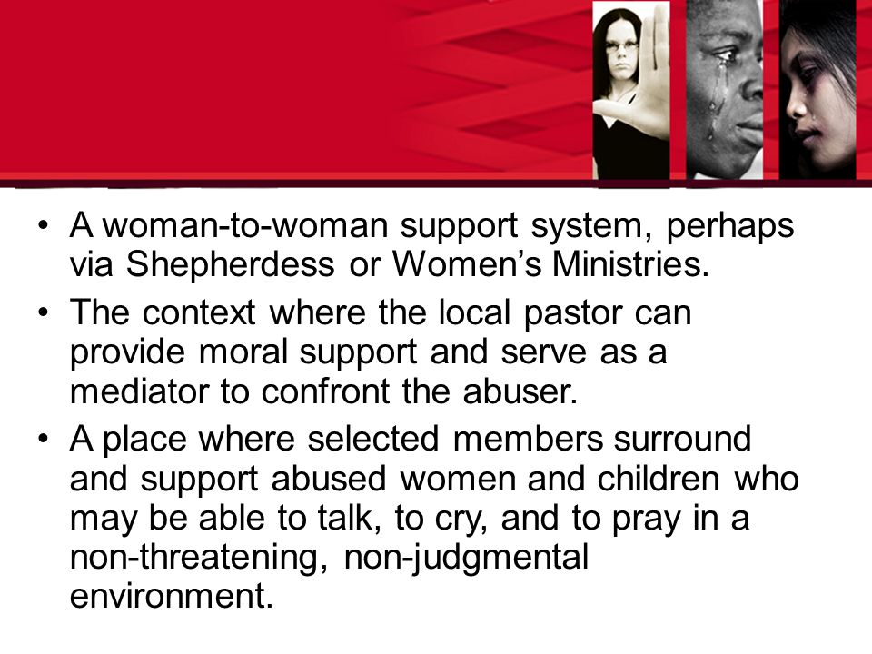 A woman-to-woman support system, perhaps via Shepherdess or Women's Ministries.