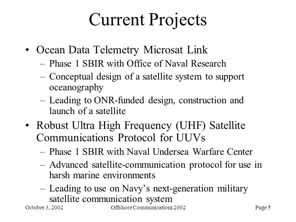 Offshore Communications 2002
