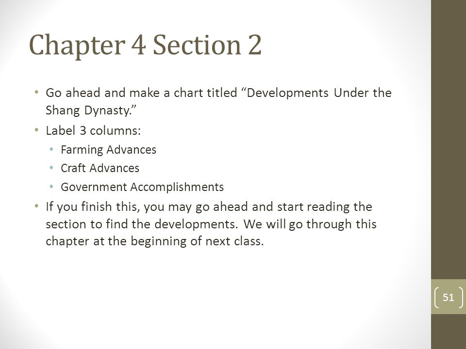 Chapter 4 Section 2 Go ahead and make a chart titled Developments Under the Shang Dynasty. Label 3 columns: