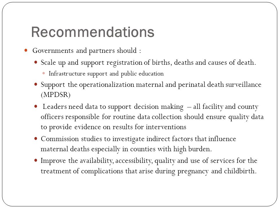 Recommendations Governments and partners should :