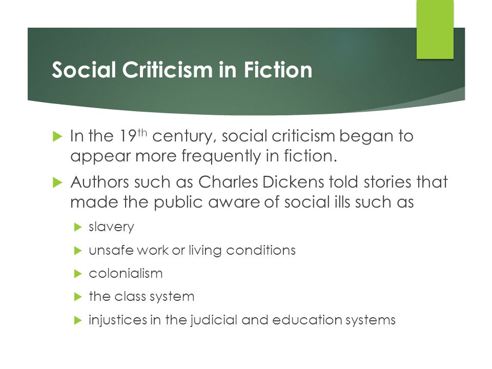 Social Criticism in Fiction