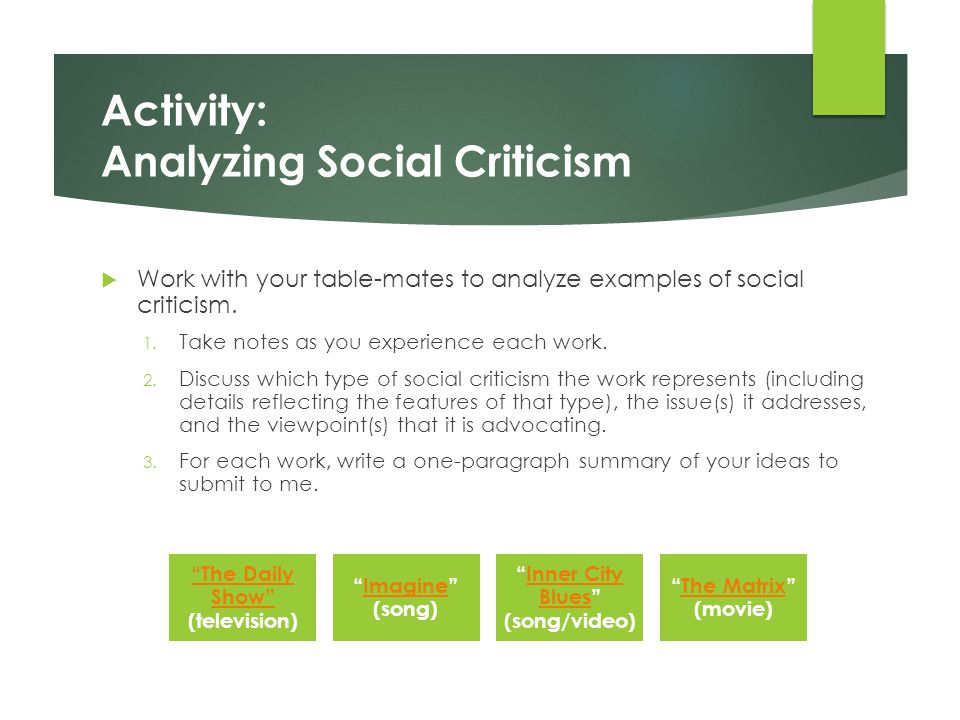 Activity: Analyzing Social Criticism