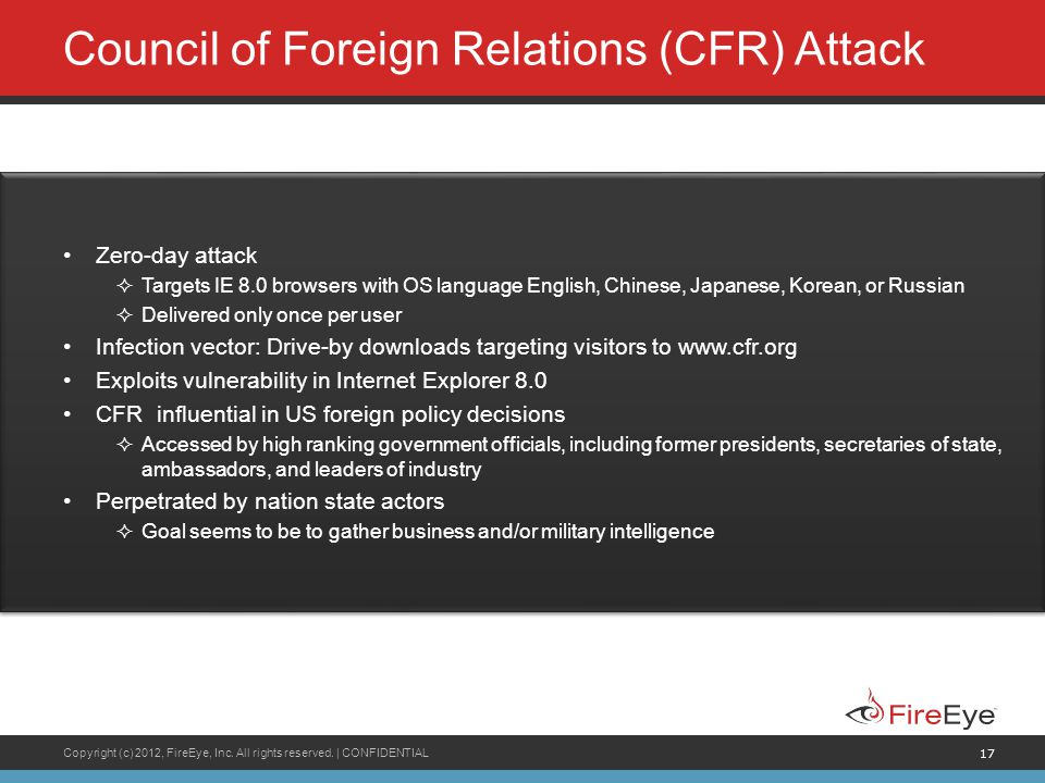 Council of Foreign Relations (CFR) Attack