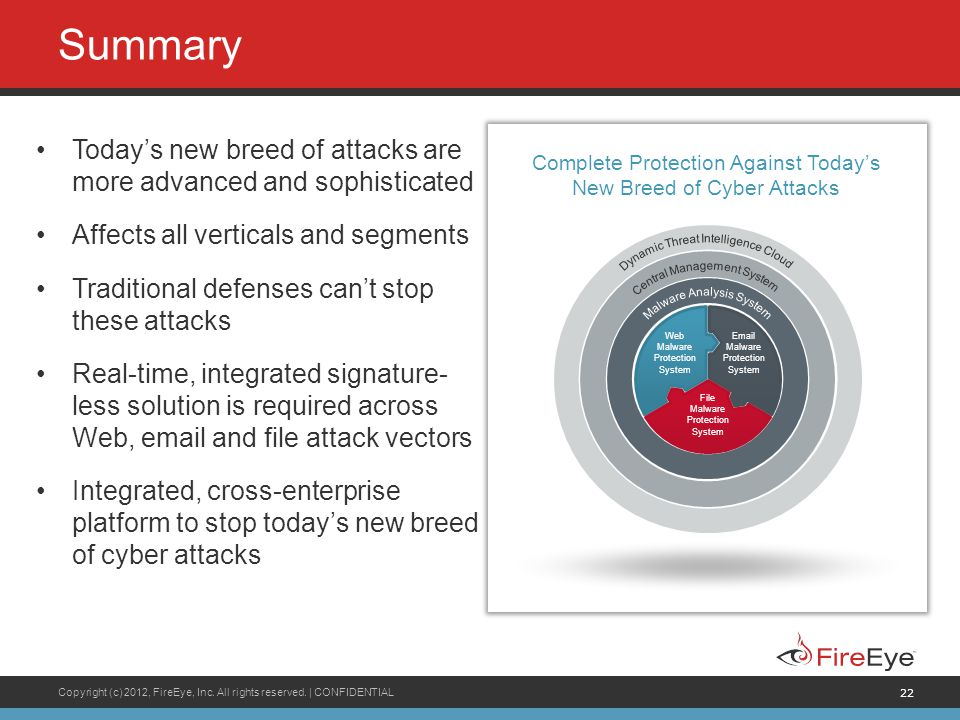 Summary Today's new breed of attacks are more advanced and sophisticated. Affects all verticals and segments.