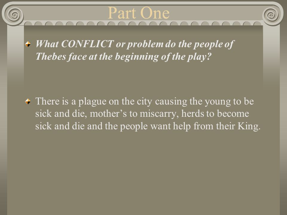 Part One What CONFLICT or problem do the people of Thebes face at the beginning of the play