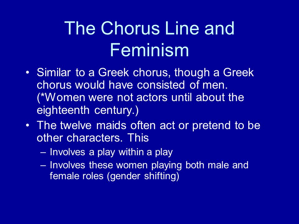The Chorus Line and Feminism