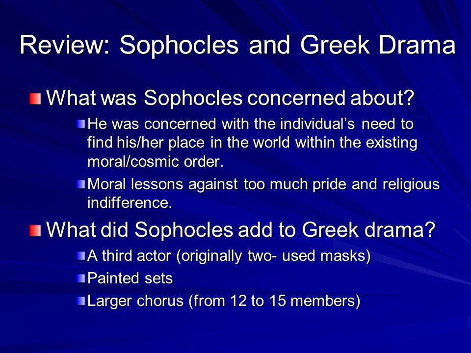 Review: Sophocles and Greek Drama