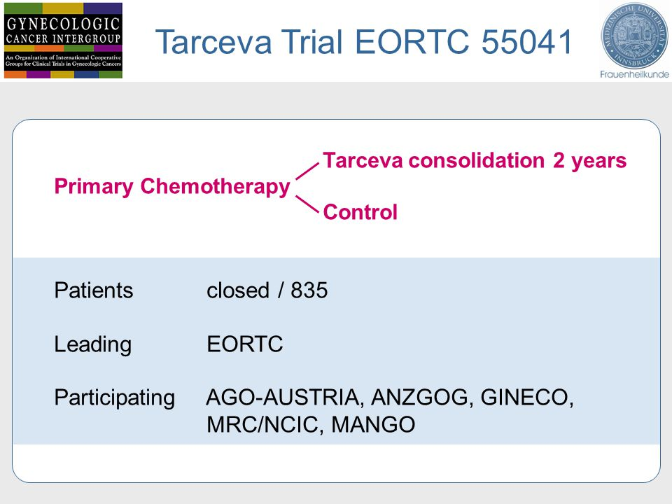 Tarceva Trial EORTC 55041 Tarceva consolidation 2 years