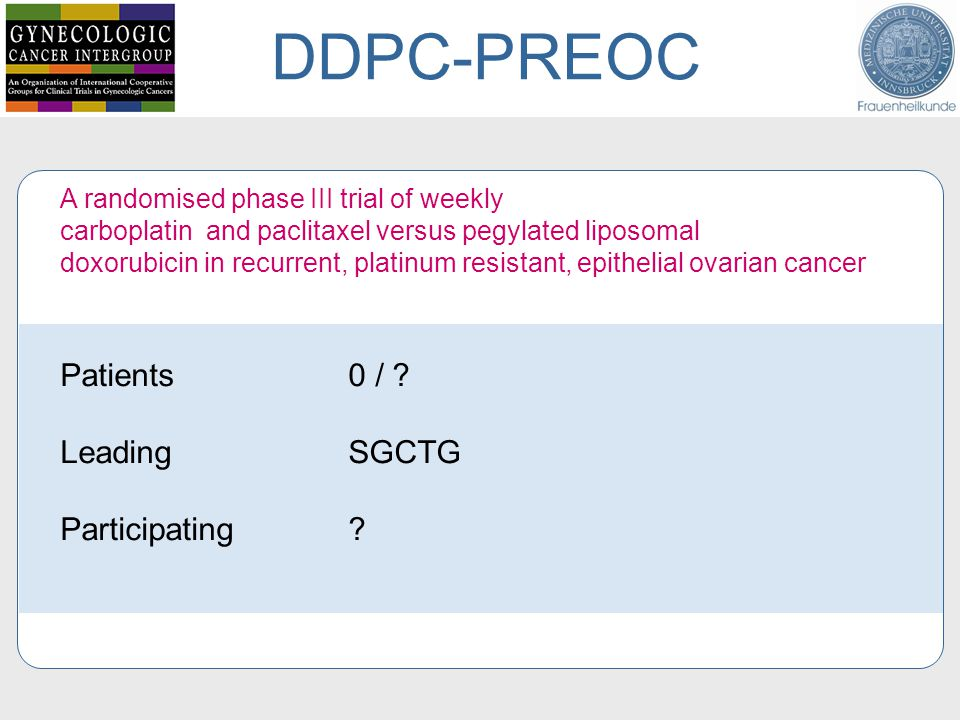 DDPC-PREOC Patients 0 / Leading SGCTG Participating