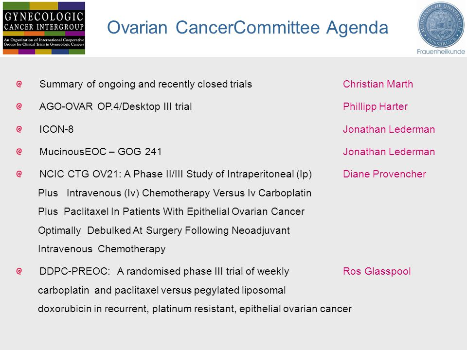 Ovarian CancerCommittee Agenda