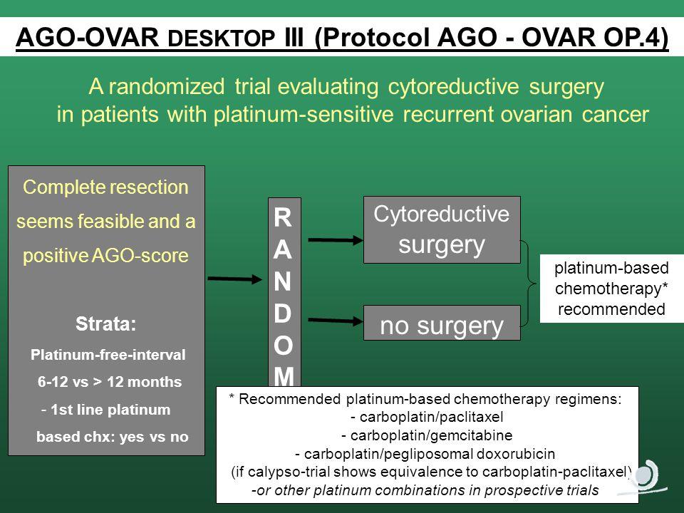 AGO-OVAR DESKTOP III (Protocol AGO - OVAR OP.4) Platinum-free-interval