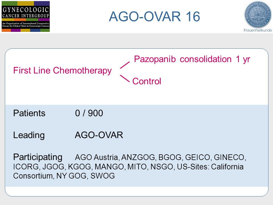 AGO-OVAR 16 Pazopanib consolidation 1 yr First Line Chemotherapy