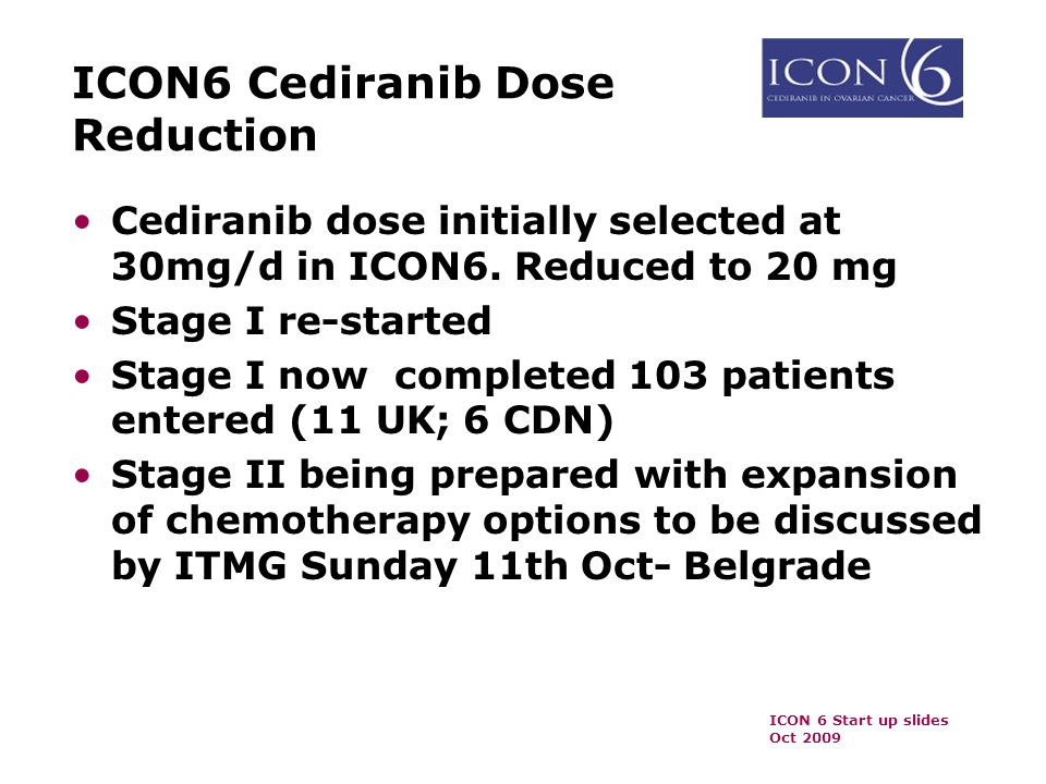 ICON6 Cediranib Dose Reduction