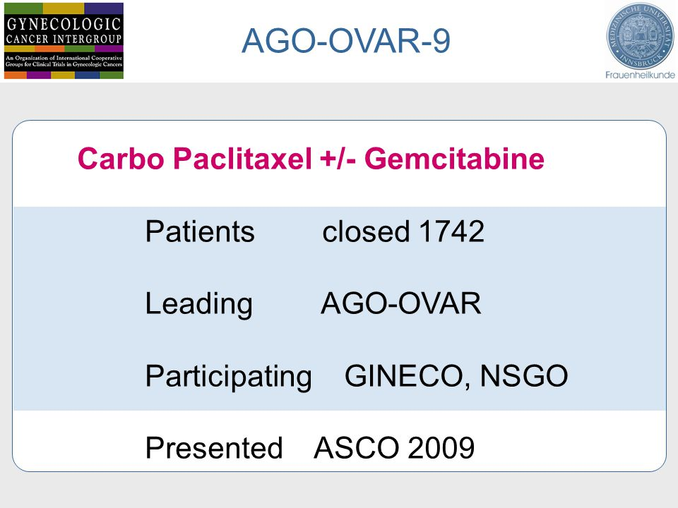 AGO-OVAR-9 Carbo Paclitaxel +/- Gemcitabine Patients closed 1742