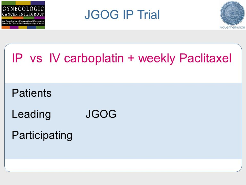 IP vs IV carboplatin + weekly Paclitaxel