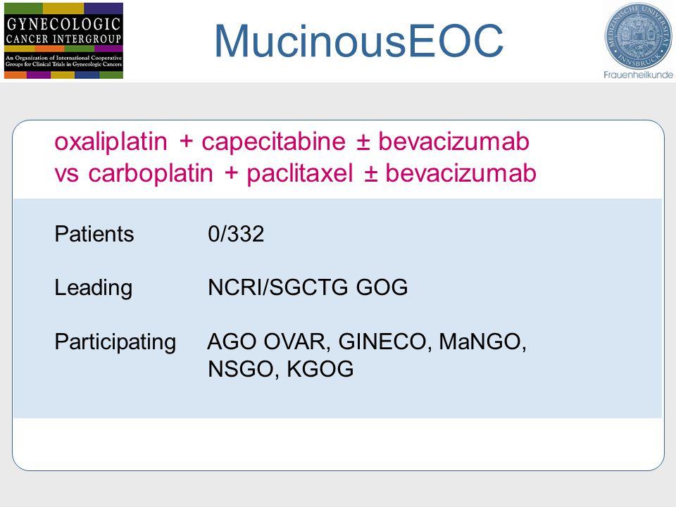 MucinousEOC oxaliplatin + capecitabine ± bevacizumab vs carboplatin + paclitaxel ± bevacizumab. Patients 0/332.