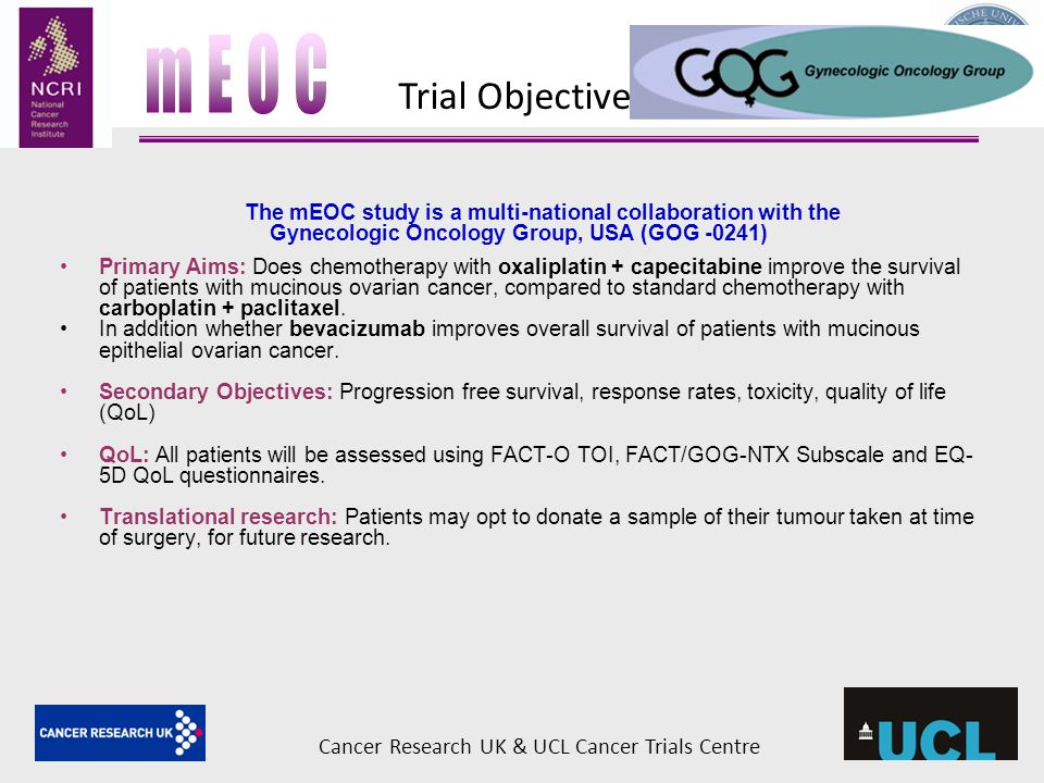 mEOC Trial Objectives Cancer Research UK & UCL Cancer Trials Centre