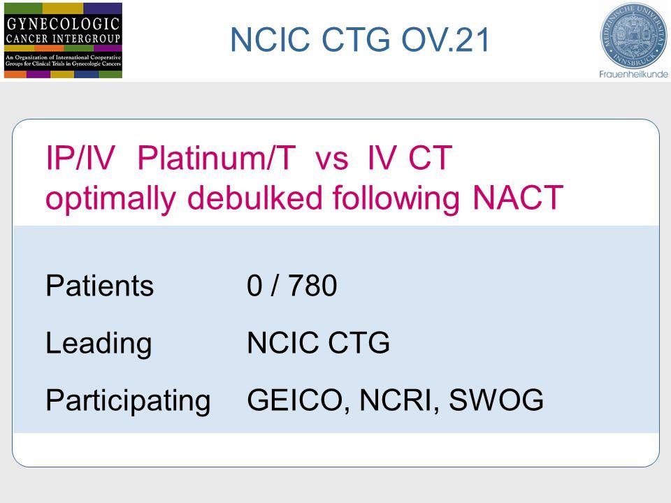 IP/IV Platinum/T vs IV CT optimally debulked following NACT