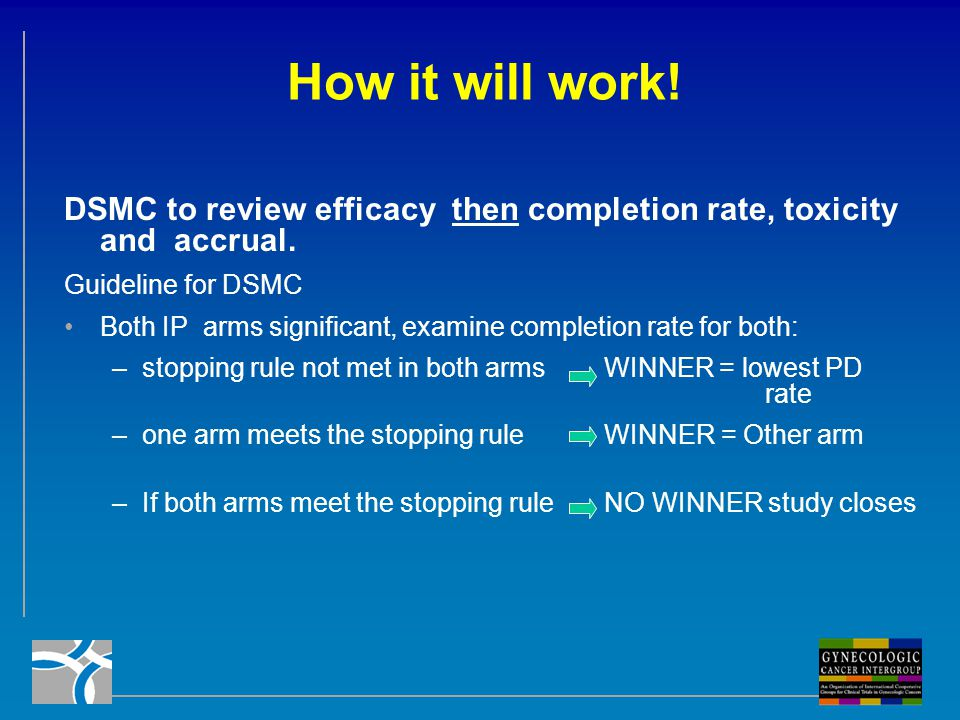 How it will work! DSMC to review efficacy then completion rate, toxicity and accrual. Guideline for DSMC.