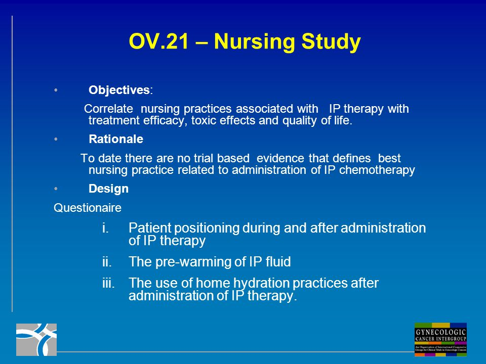 OV.21 – Nursing Study Objectives: