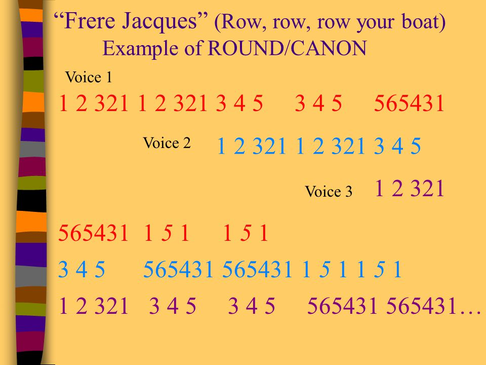 Frere Jacques (Row, row, row your boat) Example of ROUND/CANON