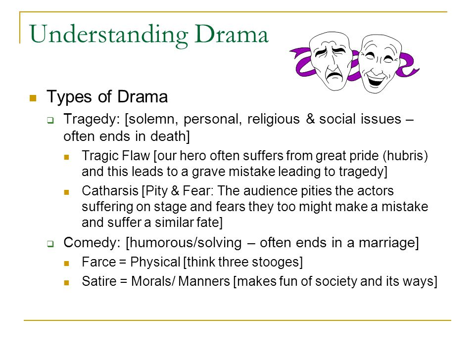 Understanding Drama Types of Drama