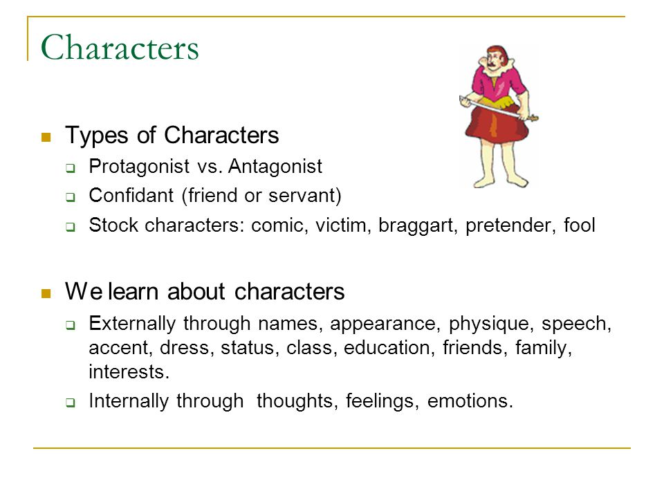 Characters Types of Characters We learn about characters