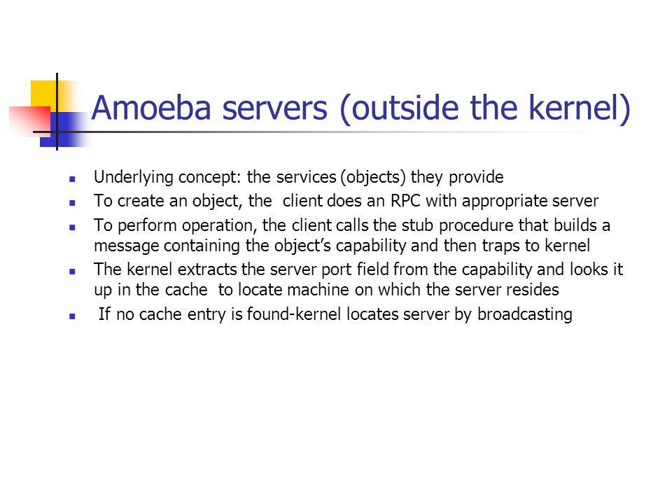 Amoeba servers (outside the kernel)