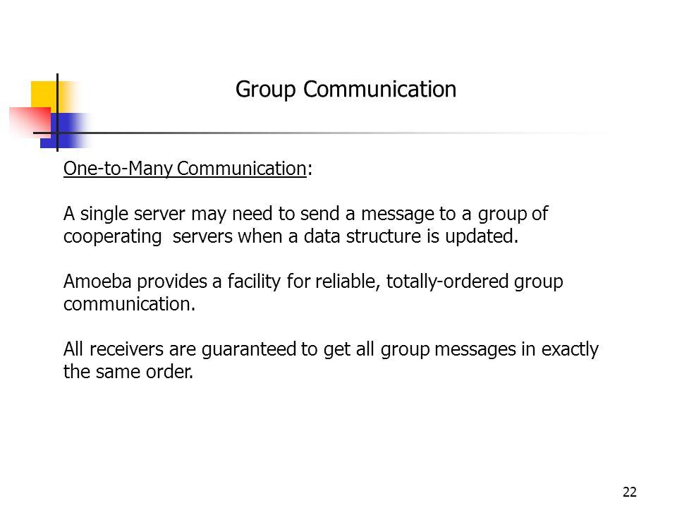 Group Communication One-to-Many Communication: