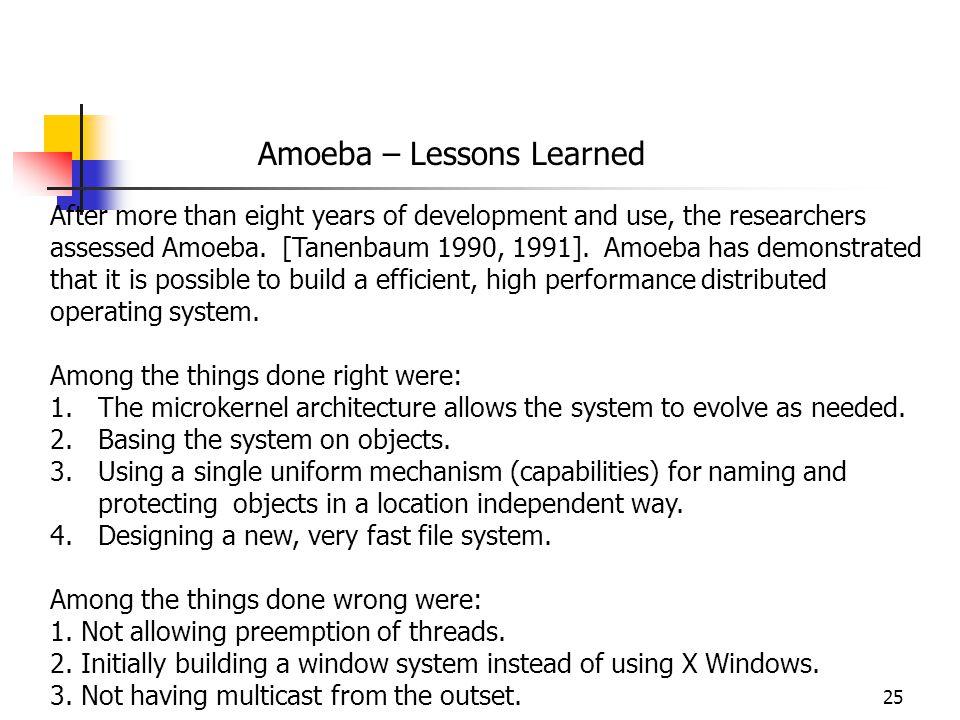 Amoeba – Lessons Learned